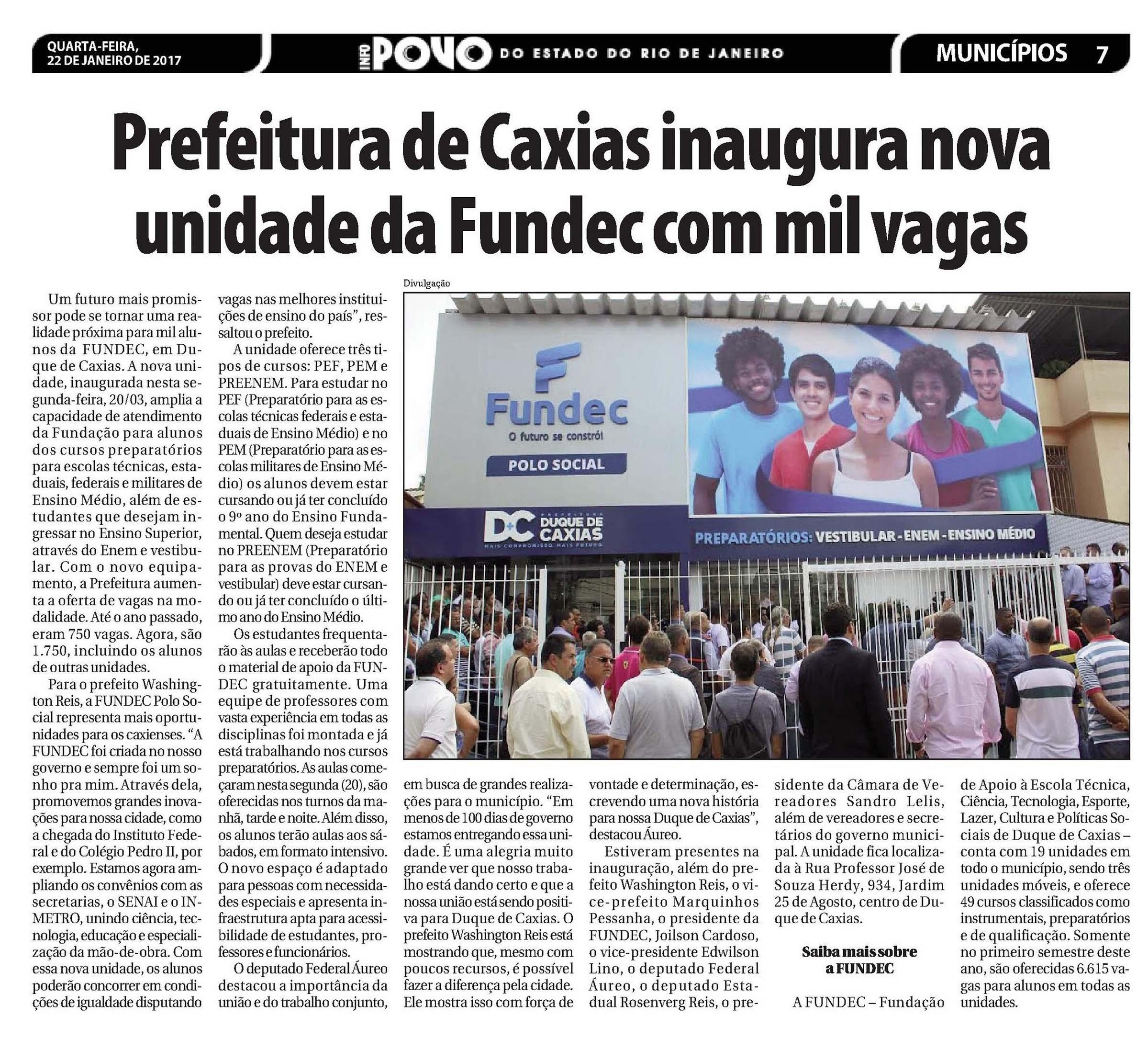 Aureo participa da inauguração da FUNDEC, em Duque de Caxias