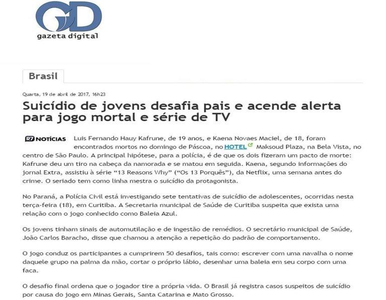Read more about the article Suicídio de jovens desafia pais e acende alerta para jogo mortal e série de TV