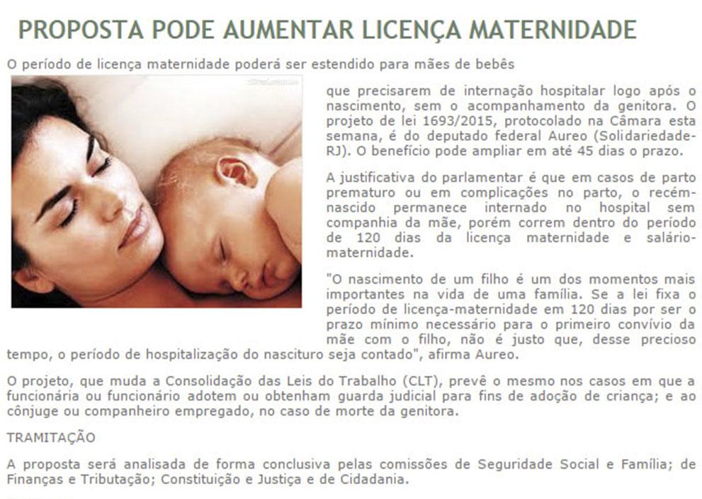 Proposta pode aumentar Licença Maternidade
