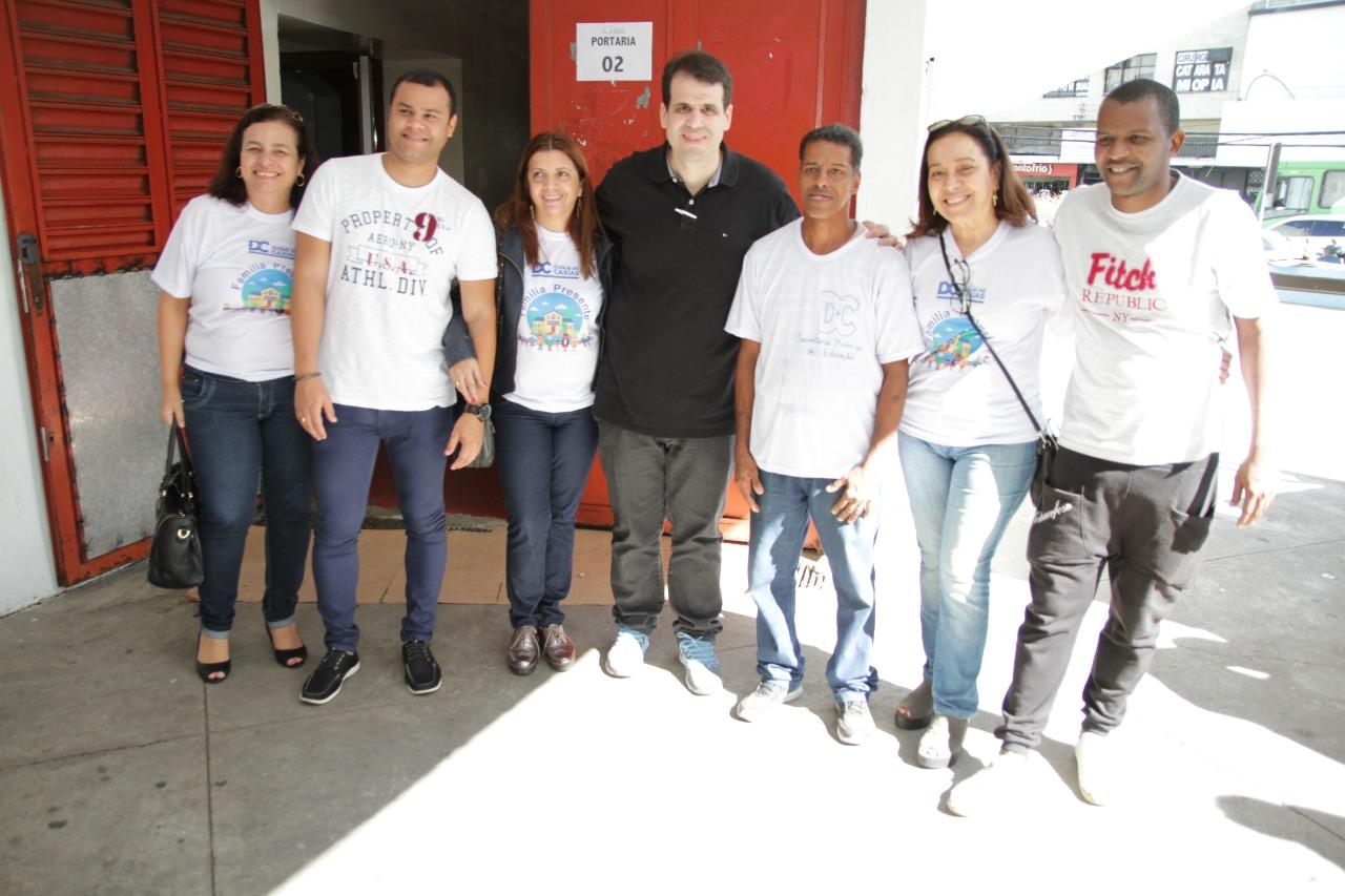 Aureo no lançamento do projeto Família Presente, da Secretaria de Educação de Duque de Caxias