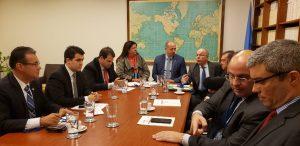 Aureo e parlamentares brasileiros em reunião na sede da ONU