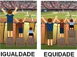 Um dos exemplos da diferença entre a igualdade e equidade e a sua importância no debate público.